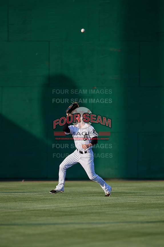 Jackson Generals center fielder Evan Marzilli (45) tracks a fly ball during a game against the Chattanooga Lookouts on April 29, 2017 at The Ballpark at Jackson in Jackson, Tennessee.  Jackson defeated Chattanooga 7-4.  (Mike Janes/Four Seam Images)
