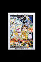 Tripoli, Libya, North Africa - Stamps Commemorating American Attack of April 1986 against Sirte, Tripoli, and Benghazi.  Designs show American Aircraft being destroted by Libyan defenses, and small girl, Muammar Qadhafi's adopted daughter, weeping.