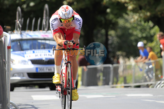 Christophe Kern (FRA) Cofidis in action during Stage 19 of the 2010 Tour de France an individual time trial running 52km from Bordeaux to Pauillac, France. 24th July 2010.<br /> (Photo by Eoin Clarke/NEWSFILE).<br /> All photos usage must carry mandatory copyright credit (© NEWSFILE | Eoin Clarke)