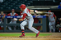 Brett Kinneman (6) of the North Carolina State Wolfpack follows through on his swing against the North Carolina Tar Heels in Game Twelve of the 2017 ACC Baseball Championship at Louisville Slugger Field on May 26, 2017 in Louisville, Kentucky. The Tar Heels defeated the Wolfpack 12-4. (Brian Westerholt/Four Seam Images)