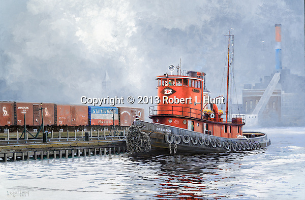 """A tugboat of the Lehigh Valley Railroad waiting for orders in the East River with New York City and Manhattan in the background, circa 1952. """"Hazleton on the East River"""", oil on canvas, 18"""" x 27""""."""