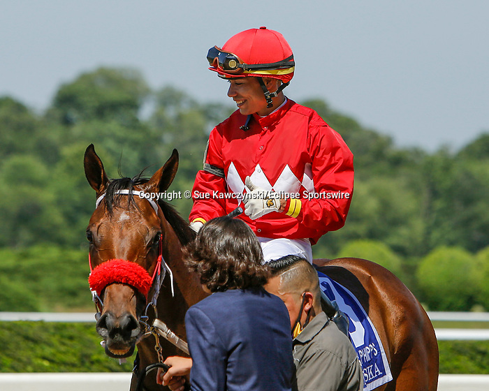 June 5, 2021: Letruska, #3, ridden by jockey Jose Ortiz, wins the Ogden Phipps Win and You're In Stakes on Belmont Stakes Day at the Belmont Stakes Festival at Belmont Park in Elmont, New York. Sue Kawczynski/Eclipse Sportswire/CSM