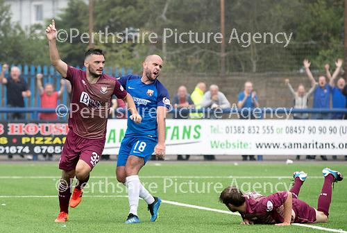 Montrose v St Johnstone…21.07.18…  Links Park    League Cup<br />Tony Watt celebrates his goal <br />Picture by Graeme Hart. <br />Copyright Perthshire Picture Agency<br />Tel: 01738 623350  Mobile: 07990 594431