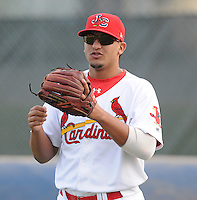 Infielder Hector Garcia (26) of the Johnson City Cardinals, Appalachian League affiliate of the St. Louis Cardinals, prior to a game against the Danville Braves on August 19, 2011, at Howard Johnson Field in Johnson City, Tennessee. Danville defeated Johnson City, 5-4, in 16 innings. (Tom Priddy/Four Seam Images)
