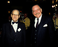Francois Albert Angers (L)' Jacques Parizeau,(R) March 1986 file.<br /> <br /> FranÁois-Albert Angers (May 21, 1909 - July 14, 2003) was an eminent Quebecois economist and defender of the cause of Quebec and the French language.
