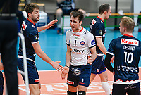 Belgian libero Dennis Deroey of Roeselare  pictured celebrating during a Volleyball game between Knack Volley Roeselare and Greenyard Maaseik , the third game in a best of five in the play offs in the 2020-2021 season , saturday 10 th April 2020 at the Schiervelde international Sportshall in Roeselare  , Belgium  .  PHOTO SPORTPIX.BE   DAVID CATRY