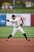 David Fletcher (15) of the Salt Lake Bees during the game against the Albuquerque Isotopes at Smith's Ballpark on April 5, 2018 in Salt Lake City, Utah. Salt Lake defeated Albuquerque 9-3. (Stephen Smith/Four Seam Images)