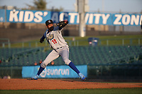 Dennis Santana (19) of the Rancho Cucamonga Quakes pitches against the Lancaster JetHawks at The Hanger on April 20, 2017 in Lancaster, California. Lancaster defeated Rancho Cucamonga 4-0. (Larry Goren/Four Seam Images)
