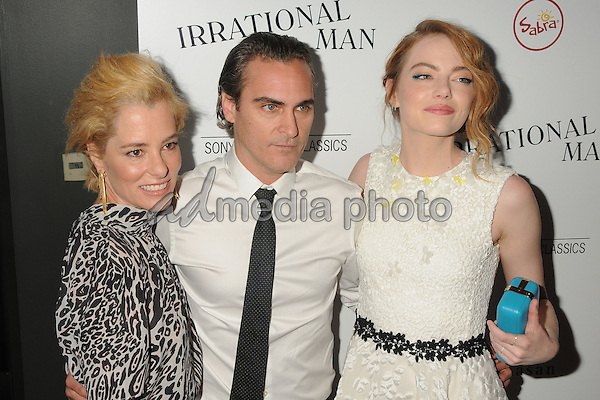 """9 July 2015 - Beverly Hills, California - Parker Posey, Joaquin Phoenix, Emma Stone. """"Irrational Man"""" Los Angeles Premiere held at the WGA Theatre. Photo Credit: Byron Purvis/AdMedia"""