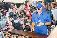 Media await the arrival of South Bend mayor and Democratic presidential candidate Pete Buttigieg at the Iowa Pork Producers Association Pork Tent at the Iowa State Fair in Des Moines, Iowa, on Tues., Aug. 13, 2019.