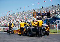 Aug 8, 2020; Clermont, Indiana, USA; Crew members for NHRA top fuel driver Shawn Langdon during qualifying for the Indy Nationals at Lucas Oil Raceway. Mandatory Credit: Mark J. Rebilas-USA TODAY Sports