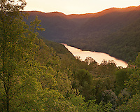 Sunset glow on the New River; New River Gorge National River, WV