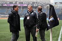 SEATTLE, WA - NOVEMBER 9: Seattle Sounders FC owner Adrian Hanauer talks with general manager Garth Lagerwey and technical director Chris Henderson at CenturyLink Field on November 9, 2019 in Seattle, Washington.