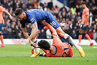 Everton's Andre Gomes is fouled by Chelsea's Olivier Giroud<br /> <br /> Photographer Stephanie Meek/CameraSport<br /> <br /> The Premier League - Chelsea v Everton - Sunday 8th March 2020 - Stamford Bridge - London<br /> <br /> World Copyright © 2020 CameraSport. All rights reserved. 43 Linden Ave. Countesthorpe. Leicester. England. LE8 5PG - Tel: +44 (0) 116 277 4147 - admin@camerasport.com - www.camerasport.com