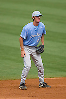 Shortstop Ryan Graepel #24 of the North Carolina Tar Heels on defense versus the Clemson Tigers at Durham Bulls Athletic Park May 23, 2009 in Durham, North Carolina. The Tigers defeated the Tar Heals 4-3 in 11 innings.  (Photo by Brian Westerholt / Four Seam Images)