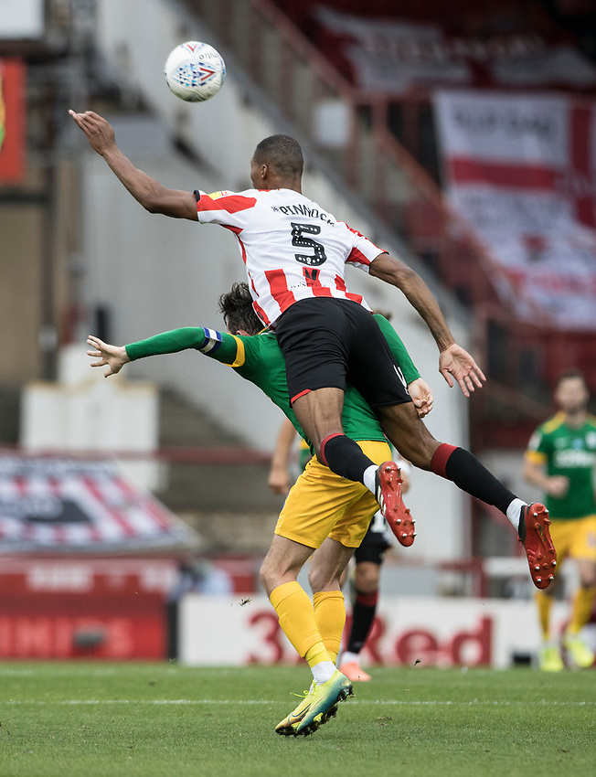 Preston North End's Alan Browne competing with Brentford's Ethan Pinnock (right) <br /> <br /> Photographer Andrew Kearns/CameraSport<br /> <br /> The EFL Sky Bet Championship - Brentford v Preston North End - Wednesday 15th July 2020 - Griffin Park - Brentford <br /> <br /> World Copyright © 2020 CameraSport. All rights reserved. 43 Linden Ave. Countesthorpe. Leicester. England. LE8 5PG - Tel: +44 (0) 116 277 4147 - admin@camerasport.com - www.camerasport.com