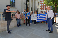 Pictured: Greek people protesting against the Macedonia name decision, outside the London Business School. Wednesday 27 June 2018<br /> Re: Greek Prime Minister Alexis Tsipras gives a speech at the Sammy Ofer building of the London Business School in London, UK