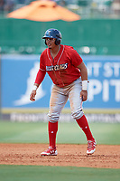 Lakewood BlueClaws right fielder Jhailyn Ortiz (13) leads off second base during a game against the Greensboro Grasshoppers on June 10, 2018 at First National Bank Field in Greensboro, North Carolina.  Lakewood defeated Greensboro 2-0.  (Mike Janes/Four Seam Images)