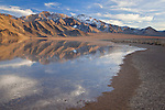 In winter, ice and water coat the normally dry and barren Racetrack in Death Valley National Park, California, USA