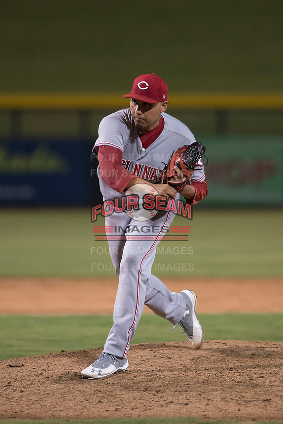 AZL Reds starting pitcher Daniel De La Fuente (26) follows through on his delivery during an Arizona League game against the AZL Cubs 1 at Sloan Park on July 13, 2018 in Mesa, Arizona. The AZL Cubs 1 defeated the AZL Reds 4-1. (Zachary Lucy/Four Seam Images)