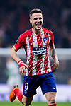 Saul Niguez Esclapez of Atletico de Madrid celebrates during the UEFA Europa League 2017-18 Round of 16 (1st leg) match between Atletico de Madrid and FC Lokomotiv Moscow at Wanda Metropolitano  on March 08 2018 in Madrid, Spain. Photo by Diego Souto / Power Sport Images