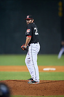 Chattanooga Lookouts relief pitcher Todd Van Steensel (23) gets ready to deliver a pitch during a game against the Jackson Generals on May 9, 2018 at AT&T Field in Chattanooga, Tennessee.  Chattanooga defeated Jackson 4-2.  (Mike Janes/Four Seam Images)