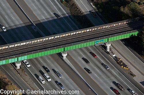 aerial photograph rail overpass San Jose, Santa Clara county, California
