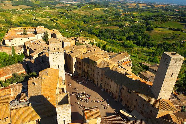 Arial View of Plazza Cisterna, San Gimignano - Tuscany - Chainti Italy