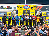 Sep 15, 2019; Mohnton, PA, USA; (From left) NHRA countdown to the championship drivers Shawn Langdon, Bob Tasca III, Ron Capps, Tommy Johnson Jr, Robert Hight, John Force, Jack Beckman, Matt Hagan, J.R. Todd and Tim Wilkerson pose for a group photo during the Reading Nationals at Maple Grove Raceway. Mandatory Credit: Mark J. Rebilas-USA TODAY Sports