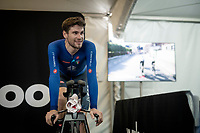Filippo Ganna (ITA/Ineos Grenadiers) warming down on the rollers post-race backstage<br /> <br /> Mixed Relay TTT <br /> Team Time Trial from Knokke-Heist to Bruges (44.5km)<br /> <br /> UCI Road World Championships - Flanders Belgium 2021<br /> <br /> ©kramon