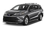 2021 Toyota Sienna Platinum 5 Door Minivan Angular Front automotive stock photos of front three quarter view