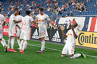 FOXBOROUGH, MA - MAY 22: Andres Reyes #4 of New York Red Bulls celebrates his goal against the New England Revolution during a game between New York Red Bulls and New England Revolution at Gillette Stadium on May 22, 2021 in Foxborough, Massachusetts.