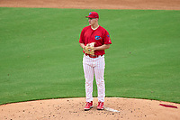 Clearwater Threshers pitcher Samuel Aldegheri (51) during a game against the Fort Myers Mighty Mussels on July 29, 2021 at BayCare Ballpark in Clearwater, Florida.  (Mike Janes/Four Seam Images)