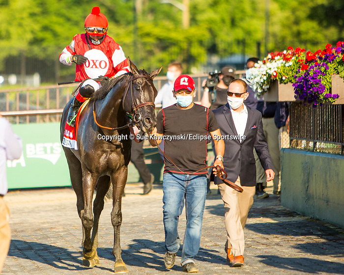 JULY 04, 2020 : Instilled Regard with Irad Ortiz aboard, wins the Grade 1 Manhattan Stakes, going 1 1/4 mile on the turf, at Belmont Park, Elmont, NY.  Sue Kawczynski/Eclipse Sportswire/CSM
