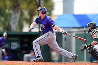 Kentucky Wesleyan Panthers first baseman Kyle Emig (24) during a game against Slippery Rock University on March 9, 2015 at Jack Russell Stadium in Clearwater, Florida.  Kentucky Wesleyan defeated Slippery Rock 5-4.  (Mike Janes/Four Seam Images)