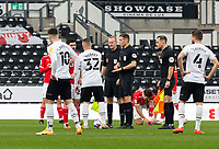 7th November 2020; Pride Park, Derby, East Midlands; English Football League Championship Football, Derby County versus Barnsley; Referee Leigh Doughty organising the coin toss before the match