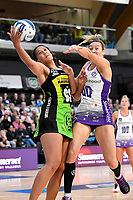 Aliyah Dunn of the Pulse and Anna Harrison of the Stars during the ANZ Premiership match between the Pulse and the Stars at Fly Palmy Arena, Palmerston North, New Zealand on Sunday 18 April 2021.<br /> Photo by Masanori Udagawa. <br /> www.photowellington.photoshelter.com