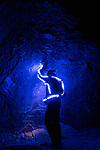 """Pictured:  Luke wearing LED Suit while rock climbing <br /> <br /> Bright bolts of colourful light snake their way across mountains and cliffs.  The striking images were created by a rock climber who wrapped LED lights around his body before capturing long exposure shots of his route.<br /> <br /> Luke Rasmussen took the photos in the deserts of Nevada, in the United States, and admits that his method of 'freezing time in a moment' is unusual.  The 28 year old photographer said: """"Wearing a sweater full of lights and climbing through the darkness of night is certainly a different experience than most climbers will get.  SEE OUR COPY FOR DETAILS.<br /> <br /> Please byline: Luke Rasmussen/Solent News<br /> <br /> © Luke Rasmussen/Solent News & Photo Agency<br /> UK +44 (0) 2380 458800"""