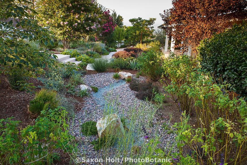 Rain garden with dry gravel percolation pond, Erskin garden Water conserving Southern California front yard garden; design Urban Water Group