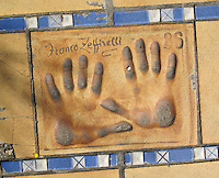 Hand print of the film director, Franco Zeffirelli, outside the Palais des Festivals et des Congres, Cannes, France.
