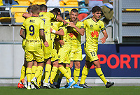 Phoenix players celebrate Ulises Davila's goal during the A-League football match between Wellington Phoenix and Sydney FC at Sky Stadium in Wellington, New Zealand on Saturday, 21 December 2019. Photo: Dave Lintott / lintottphoto.co.nz