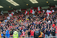 Lincoln City fans celebrate their teams goal, scored by Lincoln City's Tyler Walker<br /> <br /> Photographer Chris Vaughan/CameraSport<br /> <br /> The EFL Sky Bet League One - Lincoln City v Sunderland - Saturday 5th October 2019 - Sincil Bank - Lincoln<br /> <br /> World Copyright © 2019 CameraSport. All rights reserved. 43 Linden Ave. Countesthorpe. Leicester. England. LE8 5PG - Tel: +44 (0) 116 277 4147 - admin@camerasport.com - www.camerasport.com