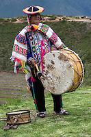 Peru, Moray, Urubamba Valley.  Quechua Musician at the Parador de Moray.