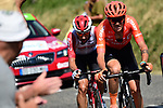 The breakaway group down to 2 men Alessandro De Marchi (ITA) CCC Team and Thomas De Gendt (BEL) Lotto-Soudal  during Stage 8 of the 2019 Tour de France running 200km from Macon to Saint-Etienne, France. 13th July 2019.<br /> Picture: ASO/Alex Broadway   Cyclefile<br /> All photos usage must carry mandatory copyright credit (© Cyclefile   ASO/Alex Broadway)