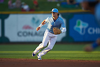 Omaha Storm Chasers shortstop Bobby Witt Jr. (7) during a game against the Iowa Cubs on August 14, 2021 at Werner Park in Omaha, Nebraska. (Zachary Lucy/Four Seam Images)