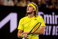 19th February 2021, Melbourne, Victoria, Australia; Stefanos Tsitsipas of Greece in action during the semifinals of the 2021 Australian Open on February 19 2021, at Melbourne Park in Melbourne, Australia.