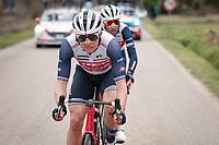 Toms Skujins (LET/Trek-Segafredo) escorting Vincenzo Nibali (ITA/Trek-Segafredo) back into the peloton after a nature break<br /> <br /> Stage 3 from Monticiano to Gualdo Tadino (219km)<br /> <br /> 56th Tirreno-Adriatico 2021 (2.UWT) <br /> <br /> ©kramon