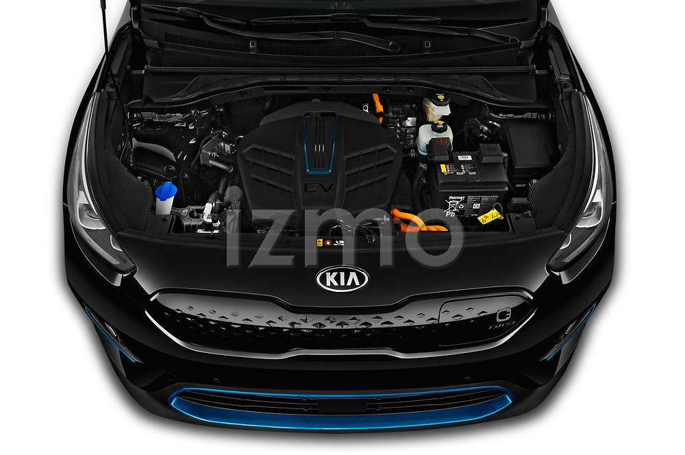 Car Stock 2019 KIA e-Niro More 5 Door SUV Engine  high angle detail view