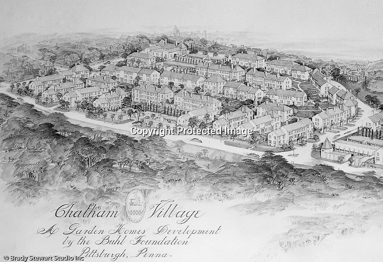 Mt. Washington:  View of a Chatham Village rendering. This rendering had a view from the south hills into the city. Rendering was done by Ingham and Boyd Architects. Chatham Village was funded by the Buhl Foundation and the concept created by renowned city planners Clarence Stein and Henry Wright.  The architect for Chatham Village was Ingham & Boyd, an architectural firm founded in 1911 with offices located in the Empire Building in downtown Pittsburgh.  The architecture of Chatham Village was significant as it provided an architectural form to an entire model community with an intent to incorporate the many conveniences of modern living into the housing of moderate cost. The architects had to devise new approaches to accommodate the automobile, radio, kitchen appliances, heating systems, and utility infrastructures while also attempting to give full realization to the idealistic goals of the Garden City movement.