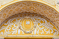 Antigua, Guatemala.  Floral Decoration in Ataurrique Style on Facade of La Merced Church, completed 1767.